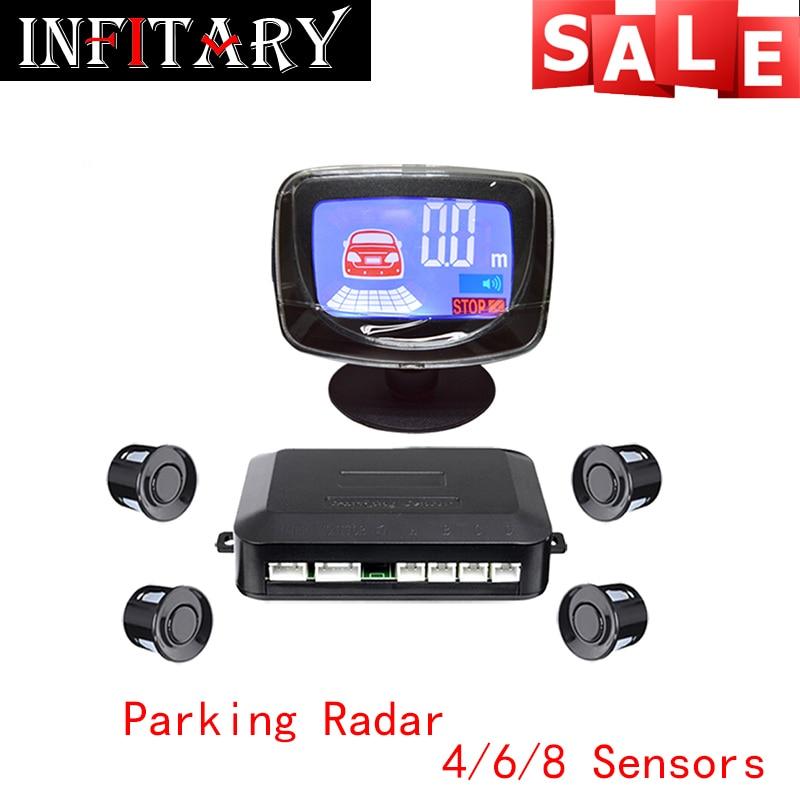 imágenes para Beeper de Alarma LCD de Coches Sensor de Aparcamiento Pantalla LCD 4/6/8 Atrás Sensores de aparcamiento de Reserva Del Radar Del Coche Detector Kit de Sistema Para Todos coche