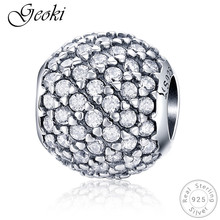 Geoki 925 Sterling Silver Round Micro White Dazzling Cubic Zirconia Paved Beads fit Pandora Bracelet Original S925 CZ Charms real 925 sterling silver 6mm cubic zirconium round cz tennis bracelet bsqd3055
