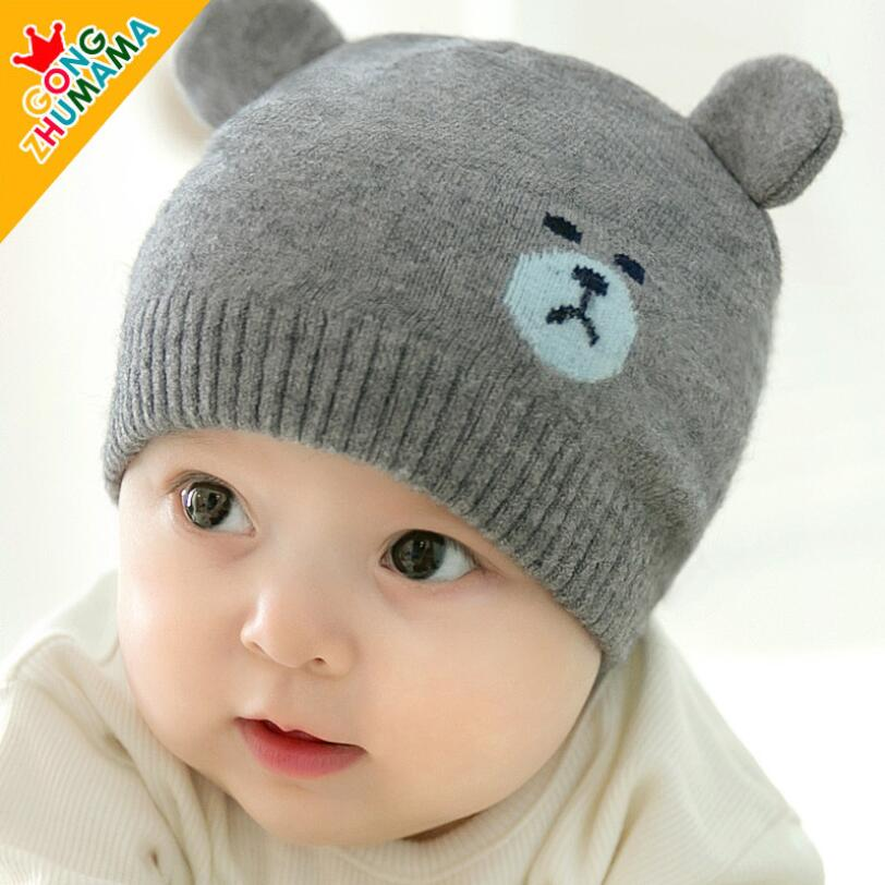 Winter Newborn Baby cotton Cartoon Bear wool cap Infant Beanie Warm hat For 0-12 Month bebe Boys Girls free shipping 200pcs lot fashion lady girls winter warm knitting wool cat ear beanie ski hat cap