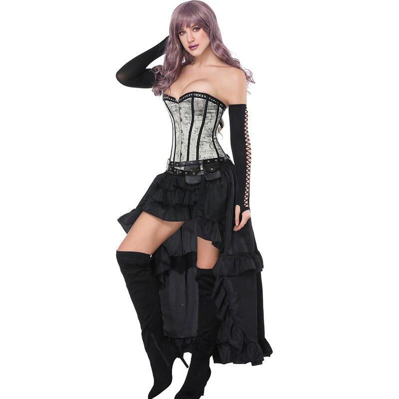Sexy Burlesque corset haut bustier avec jupe de smoking robes fantaisie Costume de fête Sexy gothique Steampunk Corsets robe