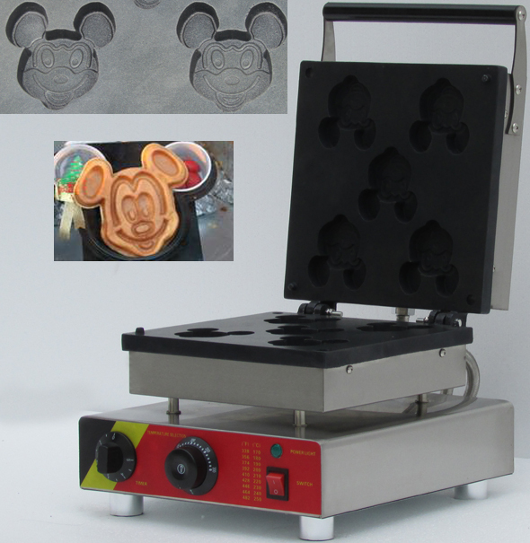 Electric commercial mickey waffle maker making five slices waffles