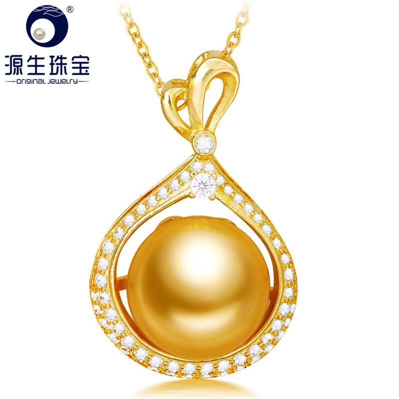 [YS] 925 pendentif en argent 11-12mm mer du sud pendentif en perles collier pour les femmes