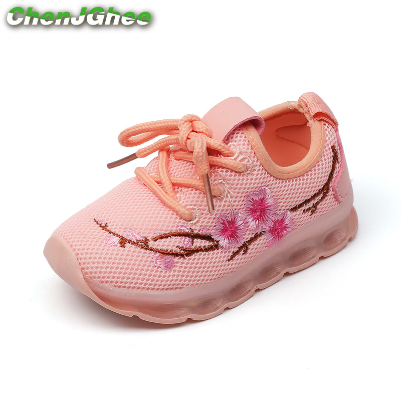 Kids Shoes For Girls Boys Luminous Shoes Casual Sneakers LED Lighted Children Glowing Shoes Embroidery Flowers Air Mesh Soft
