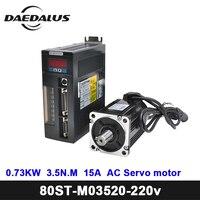 CNC 730W Servo Motor Kits 1set/Servo 2000PRMAC Motor 80ST M03520 Motor Drive 3.5N.M 15A CNC Servo Motor For CNC Milling Machine