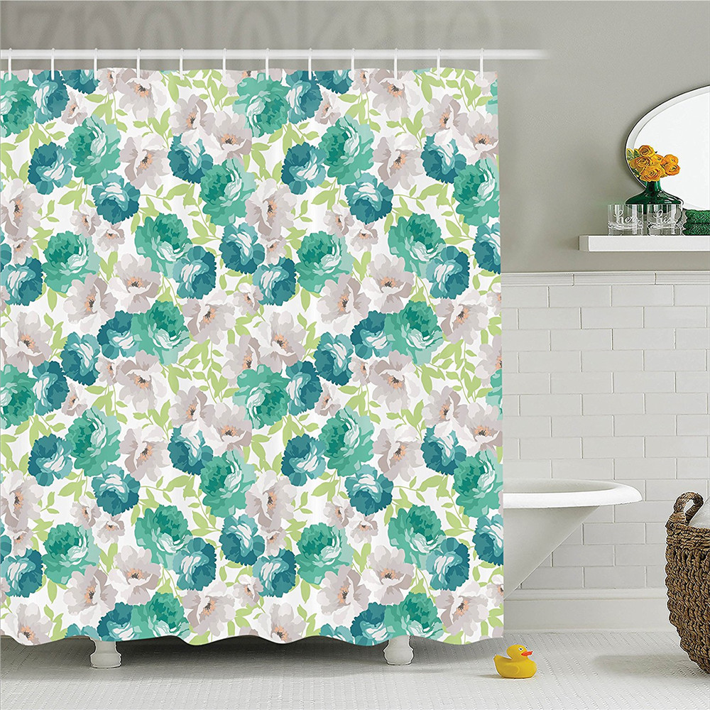 Flower Decor Shower Curtain Set Floral Pattern with Rose Vintage Inspired Watercolor Style Print Pastel Decor Bathroom Accessor
