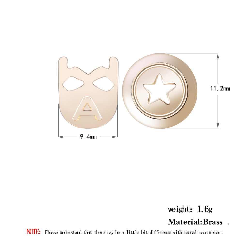 챈들러 boho 만화 여성 캡틴 아메리카 마스크와 방패 모양의 스터드 귀걸이 합금 금속 게임 재미 있은 브로닉스 sautoir bijoux