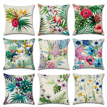 Lychee Tropical Flower Plant Flamingo Print Pillow Cases Cute Flax 45x45cm Home Decorative Accessories