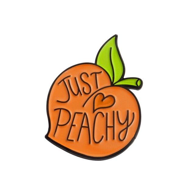 """Pêssego dos desenhos animados pin Esmalte Frutas """"Formidável"""" Lapela Broches para mochila Denim calças de brim cap saco Bonito Presente da jóia para o amigo crianças"""