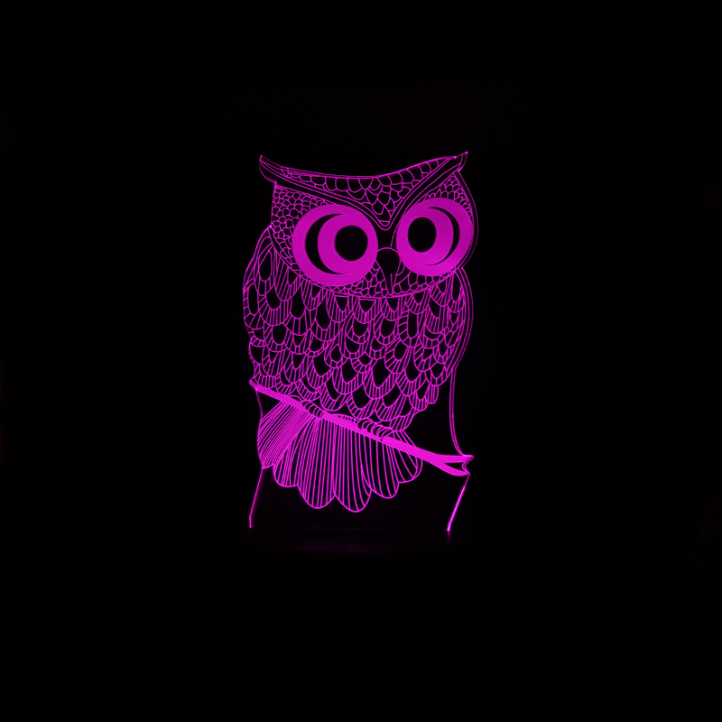 Luzes da Noite coruja 3d led desk lamp Function 3 : Stage Lighting Effect/wedding Decor/house Decoration