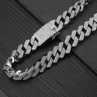 20 мм полный Iced Out тяжелый кубинские цепи цепочки и ожерелья зубец Установка мужские цвета: золотистый, серебристый хип хоп Bling CZ ожерелье рэп...