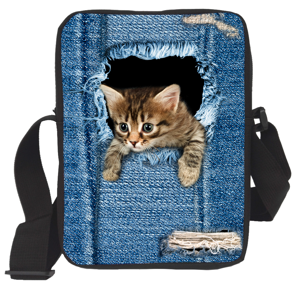 New Desinger Women Messenger Bags 3D Animal Printing Shoulder Bag Kawaii Cat Travel  Messenger Bags for Girls Free Shipping