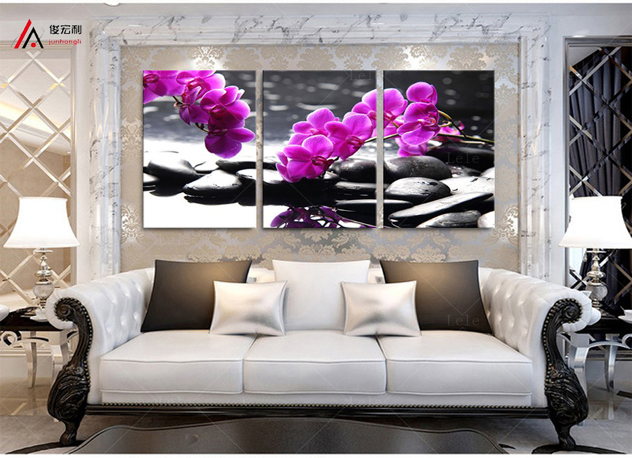 3 Pieces home decoration artwork modular pictures pebbles and orchid - Home Decor - Photo 4