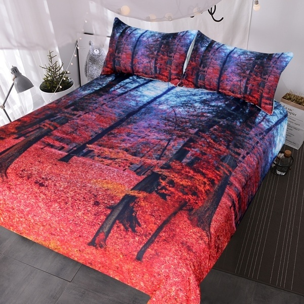 Natural Maple Forest Bedding 3pcs Fall Autumn Tree Duvet Cover Set Natural Maple Forest Bedding 3pcs Fall Autumn Tree Duvet Cover Set