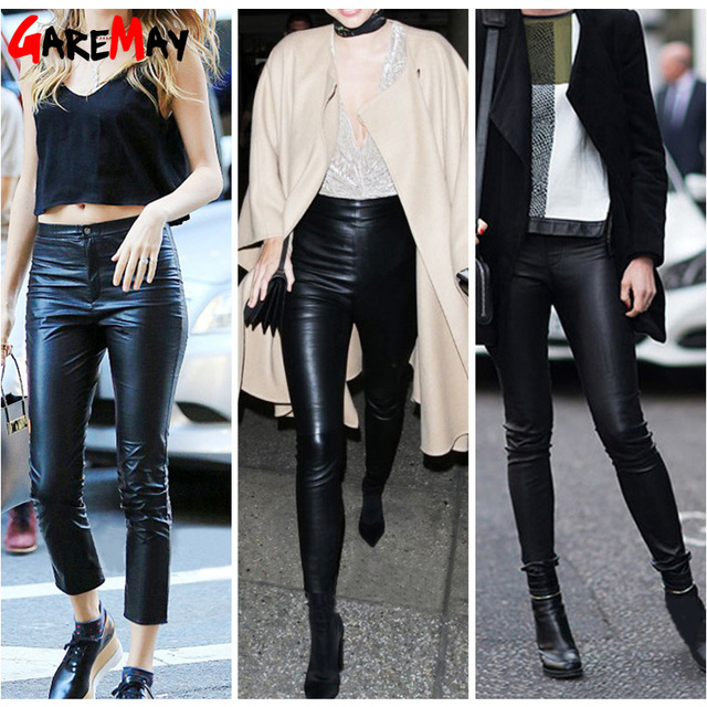 Autumn Women's Leather Pants Women Female Winter High Waisted Pants Leather Trousers Women PU Skinny Stretch Pencil Pantalons