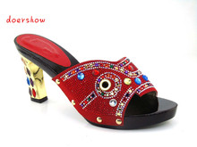 African wooden shoes 2016 Rhinestone Sandals Woman Summer Red Bottoms Party Sexy Peep Toe Super High