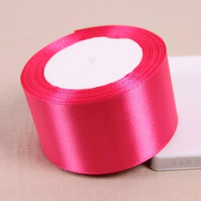 25 метров/рулон 50 мм 2 дюйма розового цвета Атлас Ленты для свадьбы Аксессуары оптовая продажа подарочной упаковки ленты