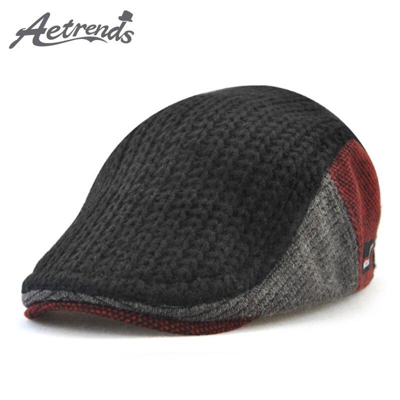 [AETRENDS] 2017 Winter Men's Knitting Beret Outdoor Visors Hats for Men Berets Cap Z-6042