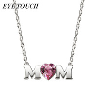 EYE TOUCH Elegant Charming Pink Crystal Pendant Necklace Women S925 Sterling Silver Necklaces Pendants Mother S