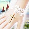 GS086 Frete grátis Luvas para festa de casamento Da Moda nupcial do laço do vestido de casamento acessórios luvas Gants mariage luva de noiva