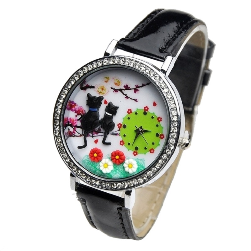 Cats Mini Watch Kitty 3d Clay Crystal Watch Casual Dress Rhinestone Wristwatch Garden New Fashion Women
