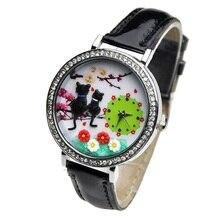Gatos Mini Reloj Del Gatito 3d Arcilla Reloj Jardín Nueva Moda Casual Dress Rhinestone Reloj de Pulsera de Cristal Mujeres Sakura Niña Coreana