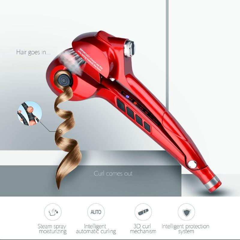 Automático Digital LED Curling hierro cerámica vapor pelo Waver máquina rápida rizador de pelo rizos Control de temperatura EU enchufe