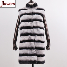 100% Real Genuine Fur Vest Women Long Style Thick Warm Winter Chinchilla Color Rex Rabbit Fur Gilet Real Natural Fur Waistcoat