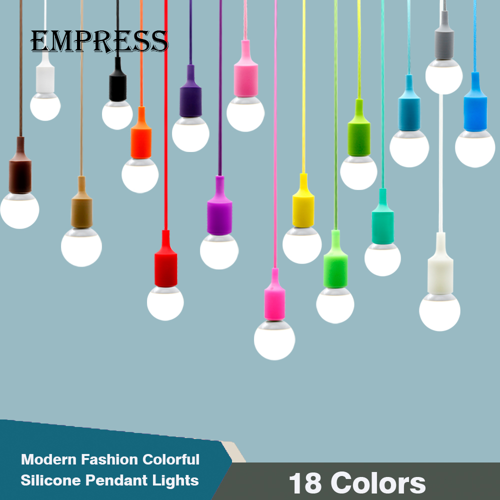 Colorful Silicone Pendant Lights led bulb e27 socket DIY Design Pendant Lamp Ceiling For Decoration light lampvoet e27 fitting led smart emergency lamp led bulb led e27 bulb lights light bulb energy saving 5w 7w 9w after power failure automatic lighting