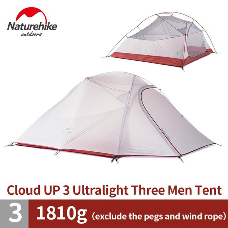 Naturehike 3 Person Camping Tent With Mat Ultralight 4Person 20D Silicone Fabric Double Layers Aluminum Rod