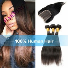 Charming 8A Brazilian Straight Hair 3 Pcs Weft & 1 pc Closure Unprocessed Virgin Hair With Closure Bundles With Closure