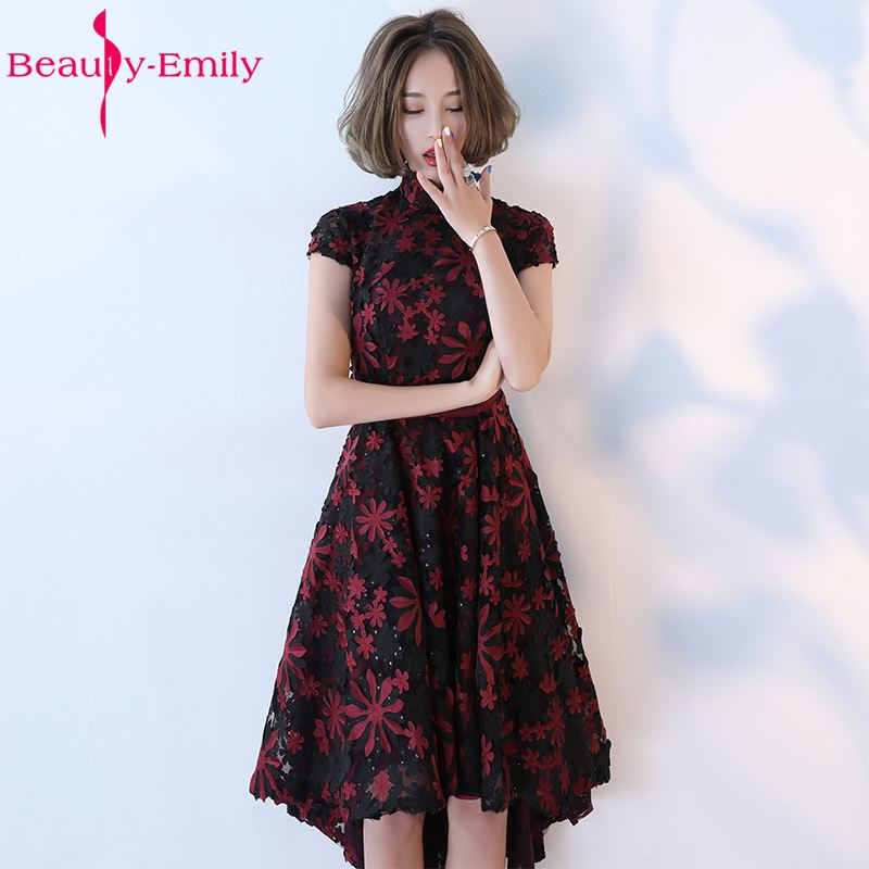 Beauty-Emily Black Green Lace Short Celebrate Party   Prom     Dresses   2018 Girl and Women High Low Formal Occasion Ceremony   Dresses