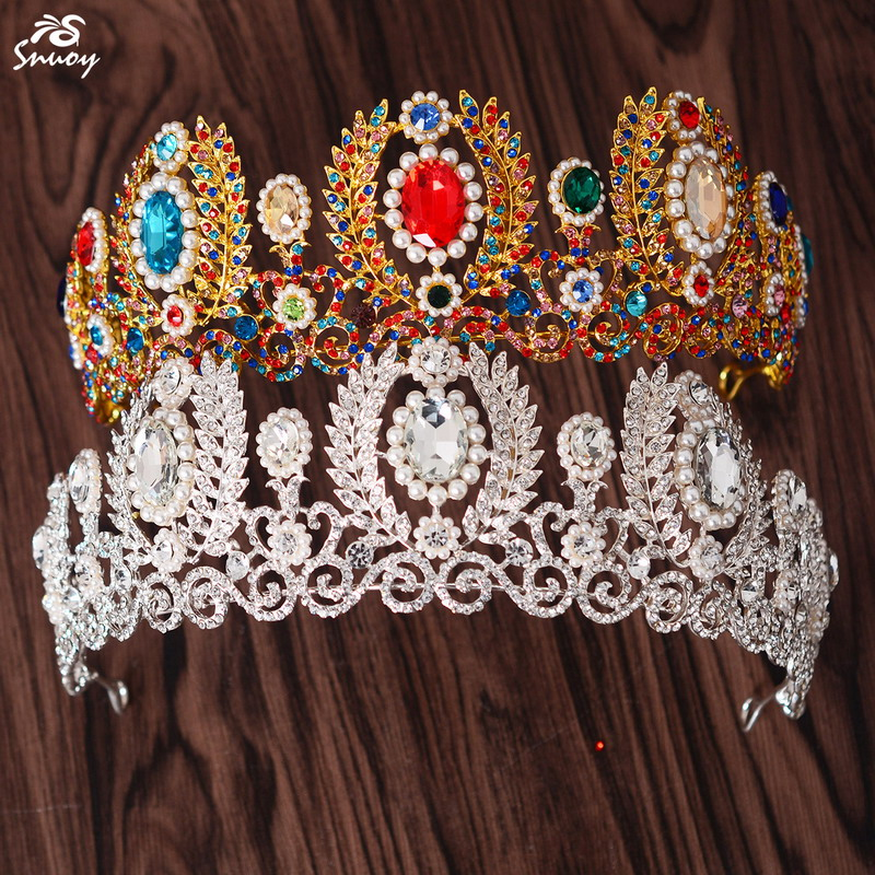 Snuoy CHIC 2018 Silver/Gold Wedding Tiaras & Crowns Women Hair Accessories Crown with blue/red/grreen stone Luxury Hair Jewelry
