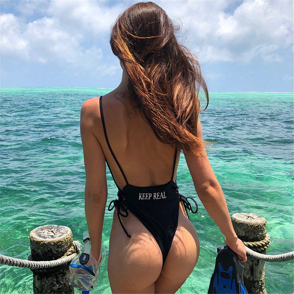 Backless Jumpsuit Women Black Strappy Sexy Chalaza Letter Elastic Rompers For Ladies Female Beach Hot Sexy Bodysuit Women