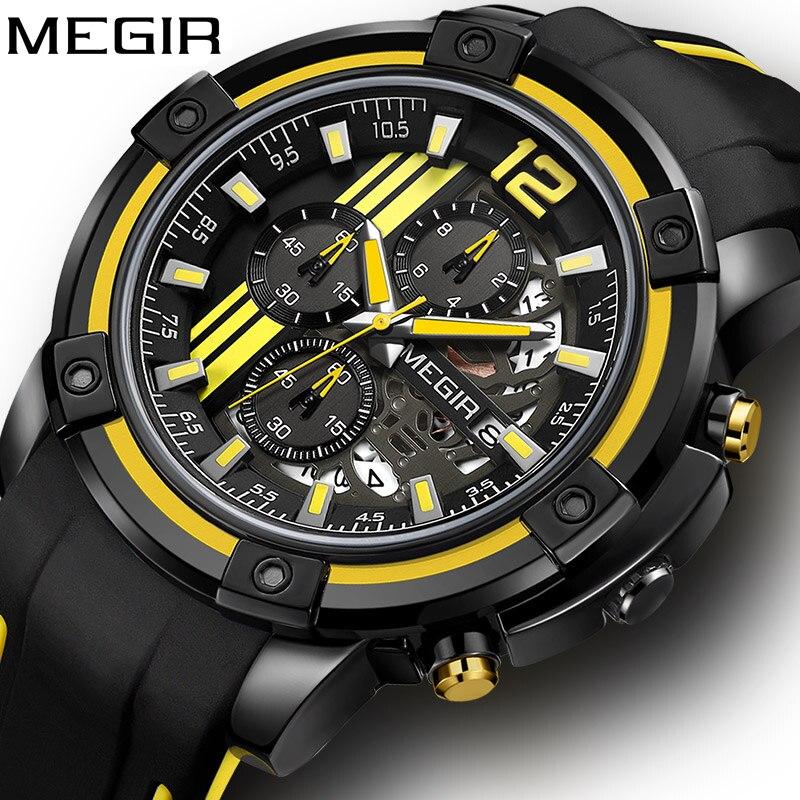 Megir Watch Mens Sport Watches Men Waterproof Chronograph Military Dropshipping Men Luxury Brand 2019 Man Quartz Wrist Watch