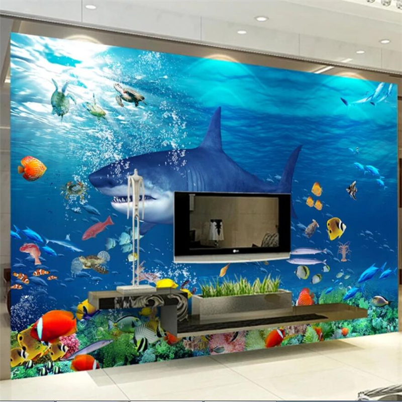 Beibehang Custom wallpaper Underwater aesthetic 3D TV background wall custom large mural green wallpaper papel de parede Mural