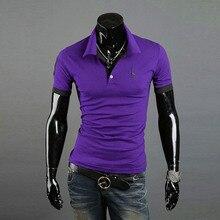 Мужчины Повседневная Топы Ти V Шеи Сплошной Цвет Рубашки Поло Slim Fit С Коротким Рукавом Летом Стиль Новый
