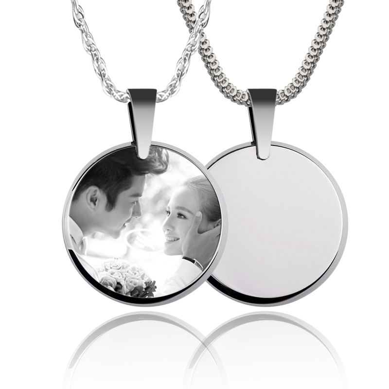 New fashion customized tungsten round pendants necklace for couples new fashion customized tungsten round pendants necklace for couples laser engrave photos romantic special gift free shipping in pendants from jewelry aloadofball Gallery