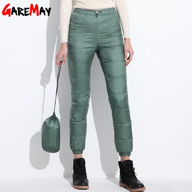 2016 pantalones de Invierno abajo mujeres outwear casual cintura elástica desgaste del trabajo de las mujeres nieve de la manera más tamaño espesar pantalones femeninos caliente