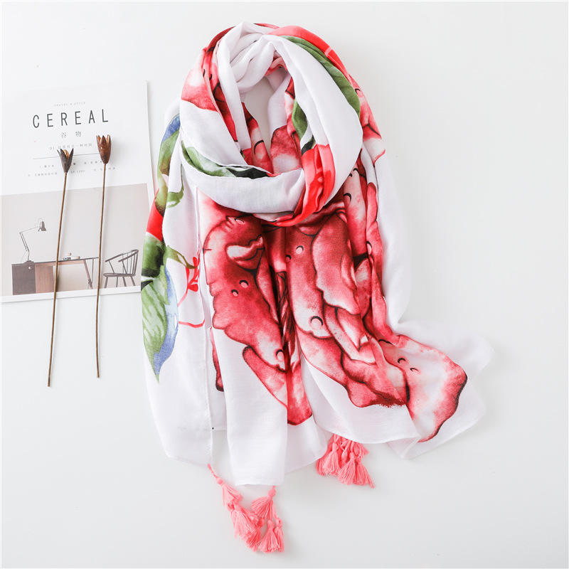 2018 Women Antumn Winter Tassel   Scarf   Luxury Brand Penoy Floral Viscose   Scarves     Wrap   Long Pashmina Shawls Hijab Muslim Headband