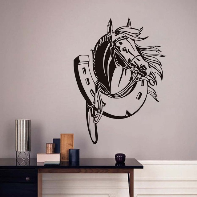 Horseshoe Horse Head Wall Stickers Vinyl Wall Decals Kids Bedroom Wall  Decorative For Living Room Transfer
