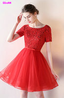 Elegant Red lace Prom Dresses 2017 New Scoop Lace-Up Tulle Knee-Lingth Celebrity Party Gowns Short Homecoming Dress Real Photos