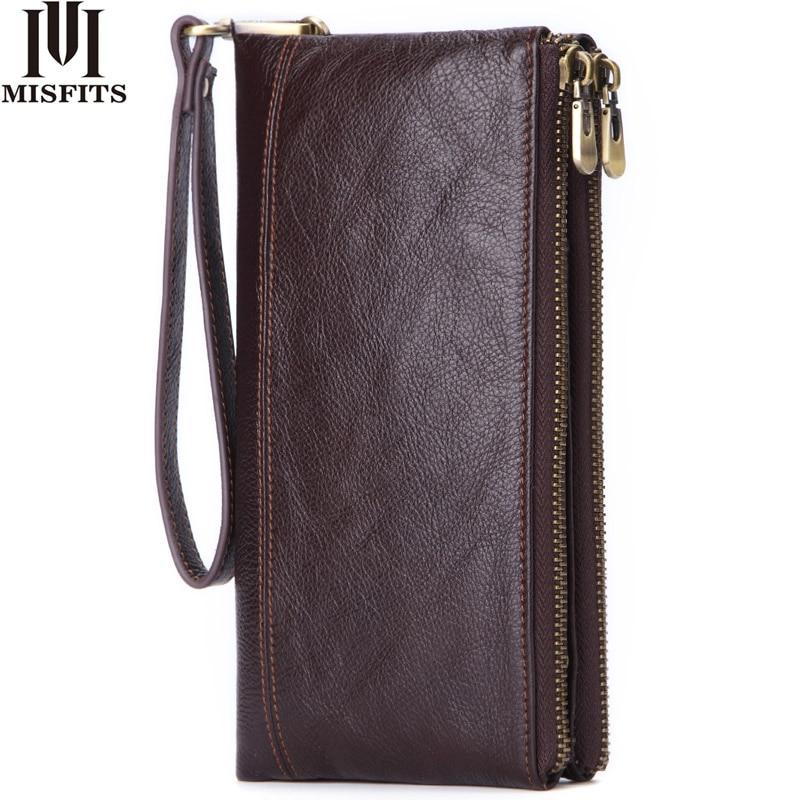 MISFITS Genuine Leather Men Wallet Vintage Clutch Coin Purse Quality Zipper Long Walet Male Large Capacity Card Holder PORTFOLIO