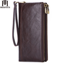 MISFITS Genuine Leather Men Wallet vintage Clutch Coin Purse Quality Zipper Long Walet Male Large Capacity Card Holder PORTFOLIO
