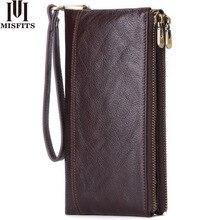 MISFITS cartera vintage de cuero genuino para hombre, monedero, billetera larga con cremallera, portatarjetas de gran capacidad