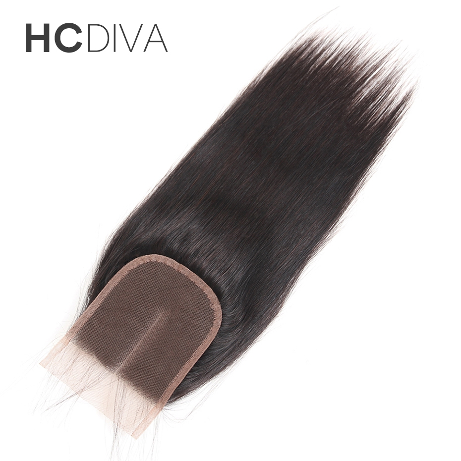 HCDIVA Hair Peruvian Non Remy Hair Lace Closure 4x4 Middle Part Avaialble Straight Hair Closure with