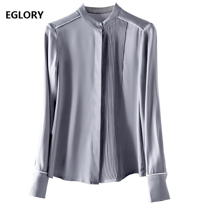 Top Quality Brand Silk   Blouse     Shirt   2019 Spring Summer   Blouses   Women Pleated Patchwork Long Sleeve Grey Geen Blue   Shirt   Blusas