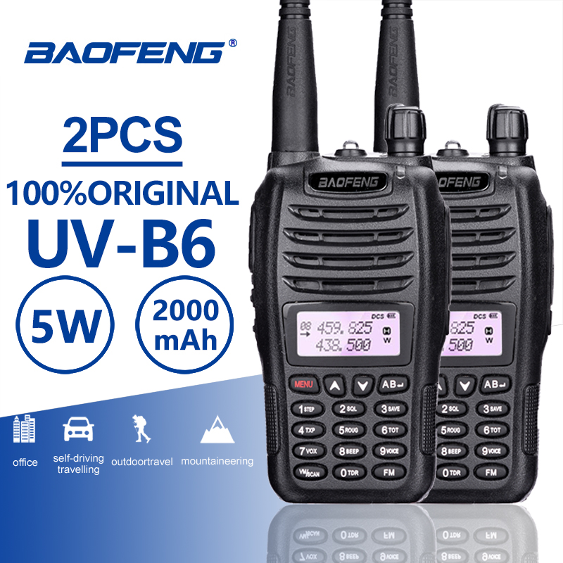 2pcs Baofeng UV B6 Dual Band Walkie Talkie 10 KM Pofung 2000mah 7.4 V Portable Ham Radio Transceiver PTT Telsiz CB Two Way Radio