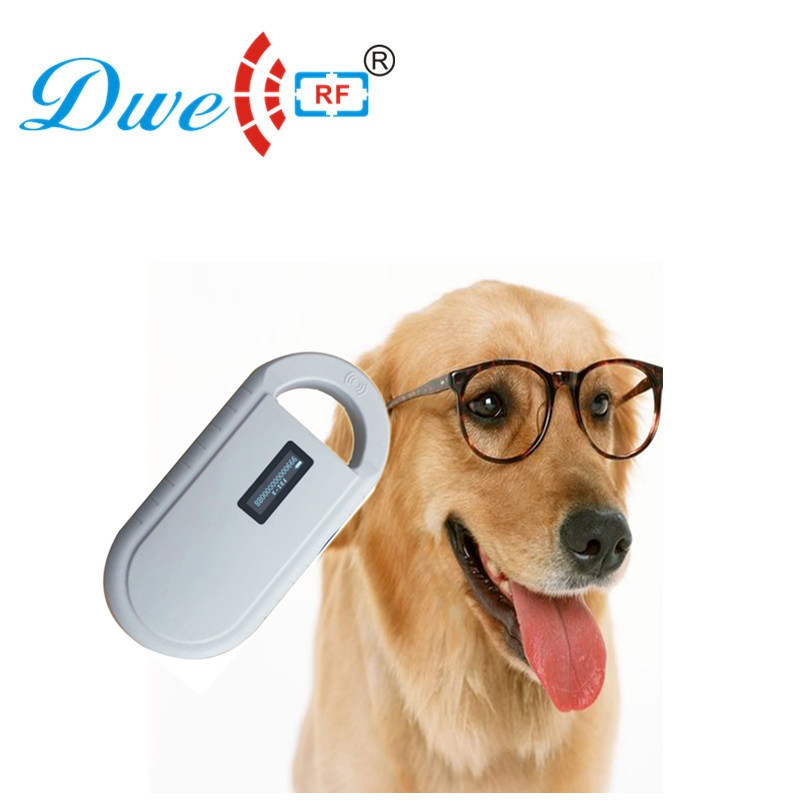 DWE CC RF access control readers FDX-B ID64 portable animal microchip scanner Pet RFID chip peader with OLED display