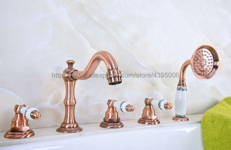 Güverte Üstü Yaygın Küvet Musluk 3 Kolları Banyo Duş Bataryası El Duşu ile 5 Delik Roma Küvet Mikser Musluklar Btf224