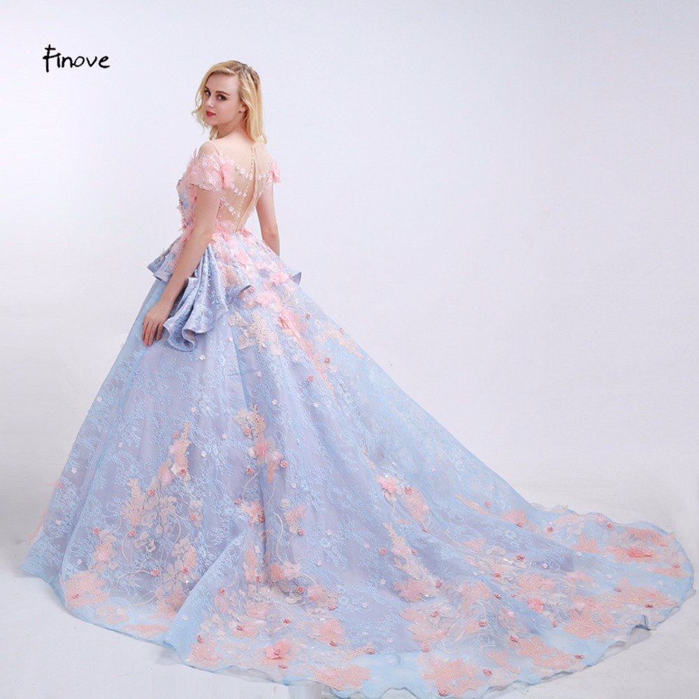 Finove Flowers Prom Dresses See Through O Neck 2018 News Pink Liques Floor Length Chapel Train Lace Party Gowns For Women In From Weddings